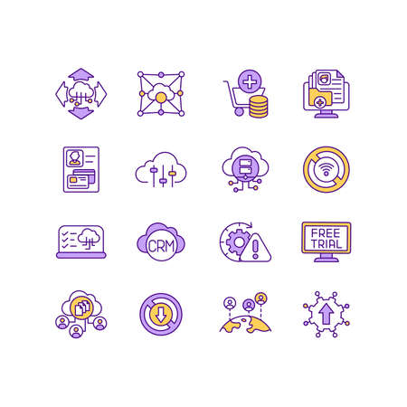 IoT services RGB color icons set. Multitenant cloud environment. Accessing and using information. Subscription-based business model. Free cloud computing usage. Isolated vector illustrations