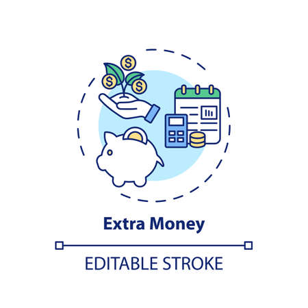 Extra money concept icon. Online tutoring benefits. Get additional financial resourses for your hard work idea thin line illustration. Vector isolated outline RGB color drawing. Editable stroke