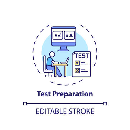 Test preparation concept icon. Online teaching jobs types. Increase students performance on standardized tests idea thin line illustration. Vector isolated outline RGB color drawing. Editable stroke Ilustração