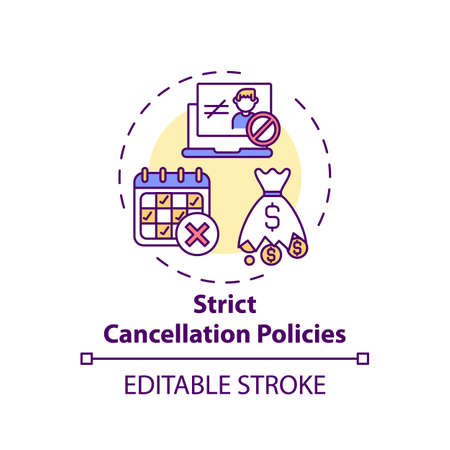 Strict cancellation policies concept icon. Online english teaching challenges. Hard to cancel planned lesson idea thin line illustration. Vector isolated outline RGB color drawing. Editable stroke