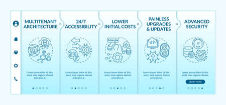 Software as service advantages onboarding vector template. Multitenant architecture. Lower initial costs. Responsive mobile website with icons. Webpage walkthrough step screens. RGB color concept