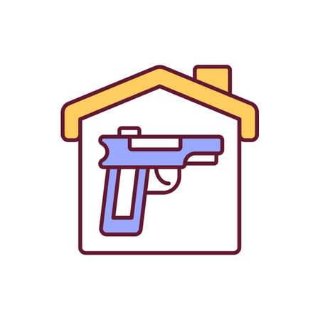 Gun for home security RGB color icon. Handgun for personal safety, firearms self defense. Weapon for protection of private property. Civilian ownership of guns. Isolated vector illustration