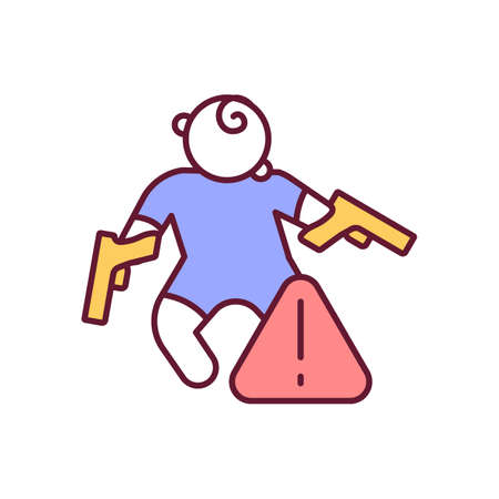 Risk of unintentional child death RGB color icon. Firearms dangerous for baby. Gun control for protection. Weapon regulation to prevent accidental kill. Isolated vector illustration