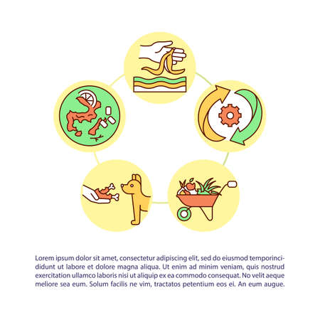 Giving food a second chance concept icon with text. Reduces solid waste disposal fees. PPT page vector template. Brochure, magazine, booklet design element with linear illustrations