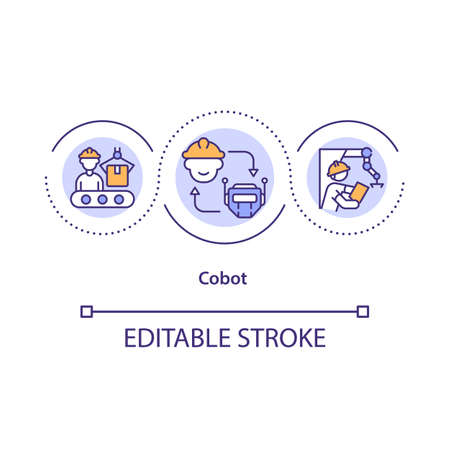 Collaborative robot concept icon. Used cobot for repetitive tasks idea thin line illustration. Collaboration between robot and human. Vector isolated outline RGB color drawing. Editable stroke Vektorové ilustrace