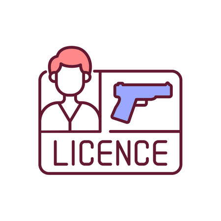 Gun license RGB color icon. Weapon control. Permit for pistol for self defense and protection. Firearms regulation. Legislation for civilian ownership of handgun. Isolated vector illustration Stockfoto - 163133311