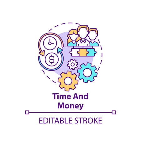 Time and money concept icon. Co-design idea thin line illustration. Investing in approaches. Stabilizing finances and boosting productivity. Vector isolated outline RGB color drawing. Editable stroke