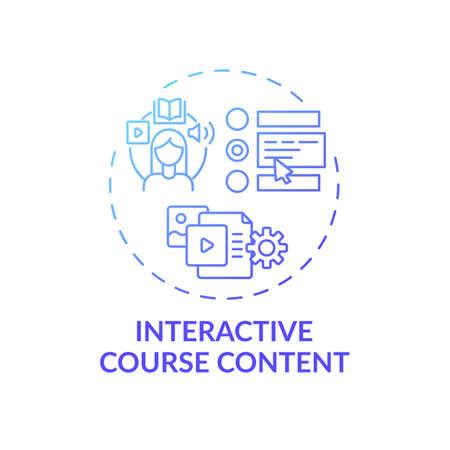 Interactive course content concept icon. Online teaching tips. Education that allows student to impact content idea thin line illustration. Vector isolated outline RGB color drawing Ilustración de vector