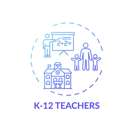 K 12 teachers concept icon. Online teaching jobs types. Teacher educates between kindergarten and twelfth school grades idea thin line illustration. Vector isolated outline RGB color drawing