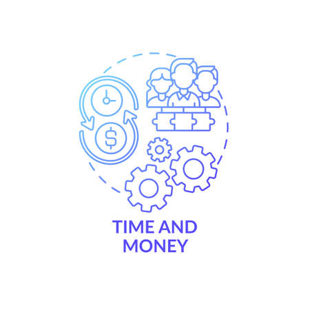 Time and money concept icon. Co-design idea thin line illustration. Investing in approaches. Sharing development expenses. Collaborative relationships. Vector isolated outline RGB color drawing