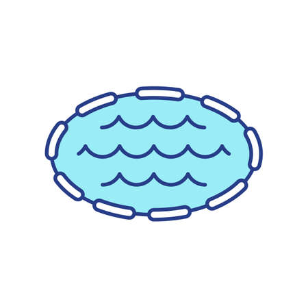Swimming pool RGB color icon. Artificial lake. Aquafarm for fish, oyster, shrimp cultivation. Fresh water scenic. Summer recreation spot. Outdoor relaxation. Isolated vector illustration
