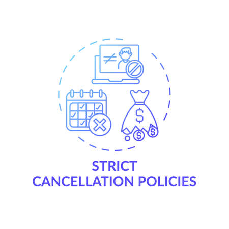 Strict cancellation policies concept icon. Online english teaching challenges. Hard to cancel planned lesson at school idea thin line illustration. Vector isolated outline RGB color drawing