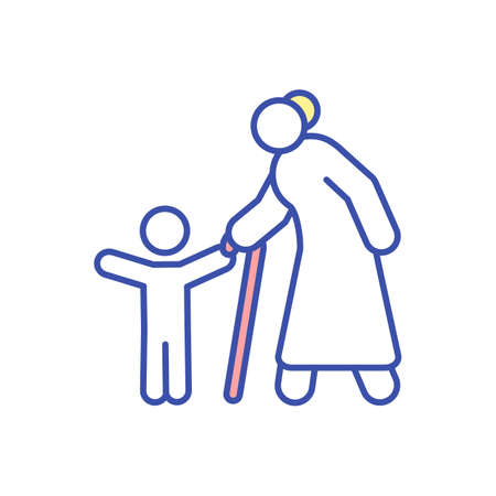 Grandmother with child RGB color icon. Grandparent walking with grandchild. Spend time and bond with family. Happy grandson with granny. Generation gap. Isolated vector illustration Illustration