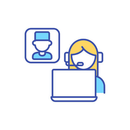 Virtual meeting between patient and doctor RGB color icon. Online medical expertise. Call for physician appointment. Telehealth communication, electronic healthcare. Isolated vector illustration