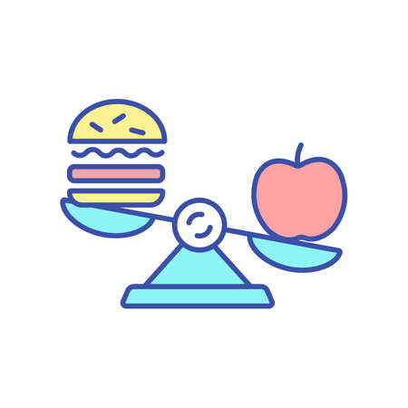 Choose healthy food RGB color icon. Benefit of nutrition and nourishment. Vegetarian and vegan diet. Avoid unhealthy junk snacks. Healthy lifestyle, conscious eating. Isolated vector illustration
