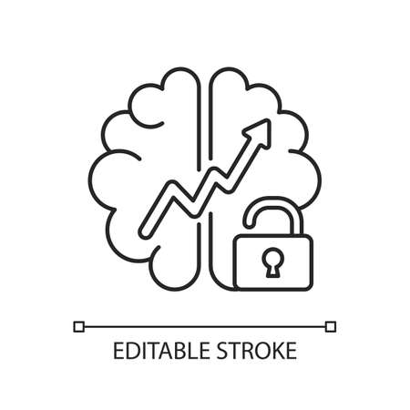 Growth mindset linear icon. Creative thinking idea. Brainstorm and teamwork. Broadening horizons. Thin line customizable illustration. Contour symbol. Vector isolated outline drawing. Editable stroke