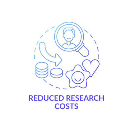 Reduced research costs concept icon. Open innovation benefit idea thin line illustration. Cost reduction procedures. Finance planning and controlling. Vector isolated outline RGB color drawing