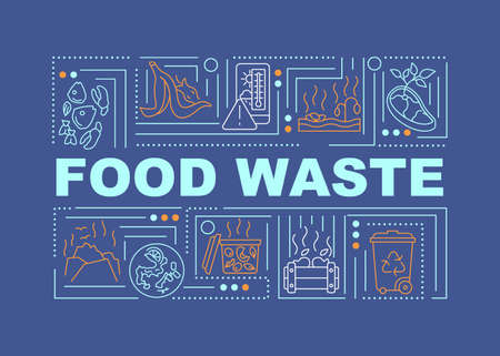 Food waste word concepts banner. Types of organics trash. Contact your waste hauler. Infographics with linear icons on navy background. Isolated typography. Vector outline RGB color illustration
