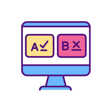 Test preparation RGB color icon. Online teaching jobs types. Increase students performance on standardized tests. Keep up with your work. Complete mock test. Isolated vector illustration Ilustração