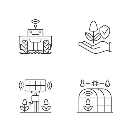 Smart agriculture linear icons set. Robotics in farm. Digital greenhouse. Agronomy engineering. Customizable thin line contour symbols. Isolated vector outline illustrations. Editable stroke