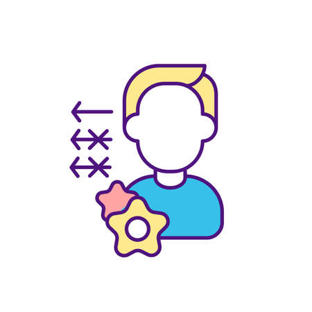 Key worker in workplace RGB color icon. Team members roles and responsibilities. Handling tasks. Playing primary role in project. Frontline employee. Making key decisions. Isolated vector illustration