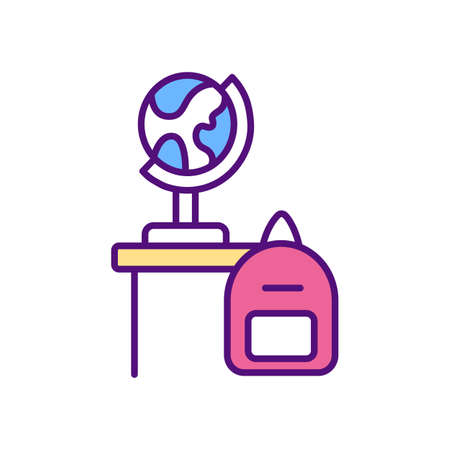 Adapting school curriculum RGB color icon. Online teaching tips. Provide interactive activities. Use existing resources. Give specific instructions to students. Isolated vector illustration Stock Illustratie