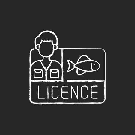 Fishing license chalk white icon on black background. Permission to catch fish. Ecological legislation. Nature saving strategy. Fishing contest. Isolated vector chalkboard illustration Vectores