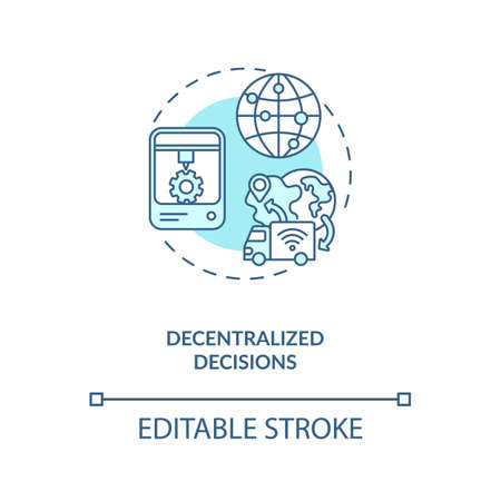 Decentralized decisions concept icon. Industry 4.0 design principle idea thin line illustration. Driving better decision-making. Vector isolated outline RGB color drawing. Editable stroke