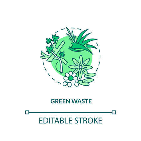 Green waste concept icon. Organic waste type idea thin line illustration. Domestic and industrial kitchen refuse. Grass clippings, leaves. Vector isolated outline RGB color drawing. Editable stroke Illusztráció