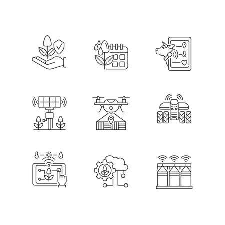 Innovation technology linear icons set. Farm automation. Digital horticulture. Sustainable production. Customizable thin line contour symbols. Isolated vector outline illustrations. Editable stroke