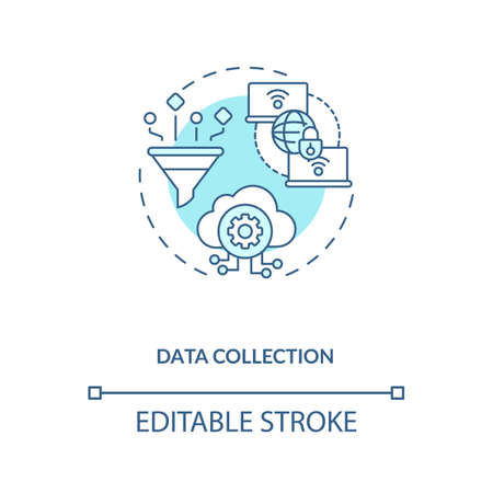Data collection concept icon. M2M communication type idea thin line illustration. Performing preventive and predictive maintenance. Vector isolated outline RGB color drawing. Editable stroke