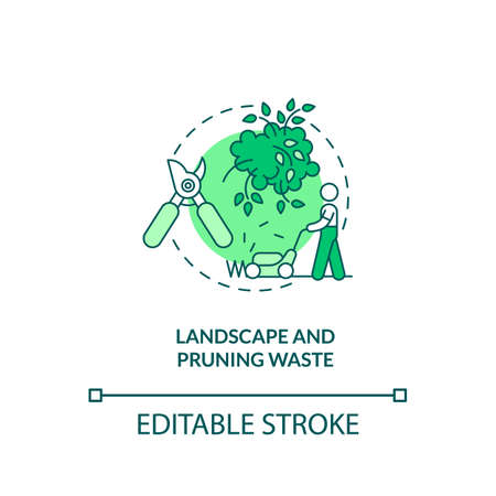 Landscape and pruning waste concept icon. Organic waste type idea thin line illustration. Grass clippings, branches from trees and leaves. Vector isolated outline RGB color drawing. Editable stroke Illusztráció