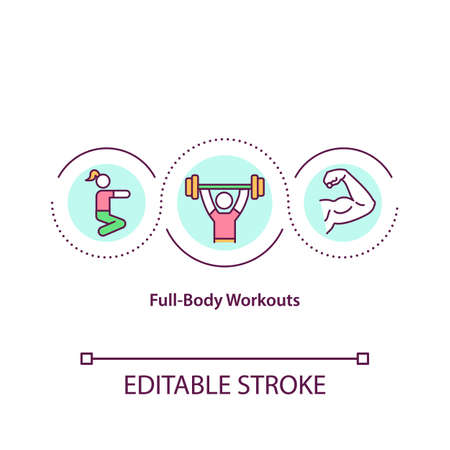 Full body workouts concept icon. Type of training plan where every muscle of human body is trained. Workout idea thin line illustration. Vector isolated outline RGB color drawing. Editable stroke