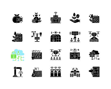 Smart farm system black glyph icons set on white space. Innovation technology. Industry automatization. Digital agrotechnology. Silhouette symbols. Vector isolated illustration