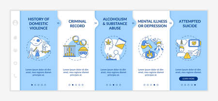 History of violence onboarding vector template. Mental illness and depression. Criminal record. Responsive mobile website with icons. Webpage walkthrough step screens. RGB color concept Vecteurs