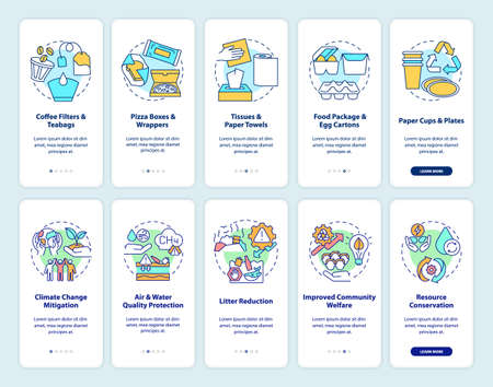 Organic waste reduction onboarding mobile app page screen with concepts set. Food-spoiled paper waste walkthrough 5 steps graphic instructions. UI vector template with RGB color illustrations