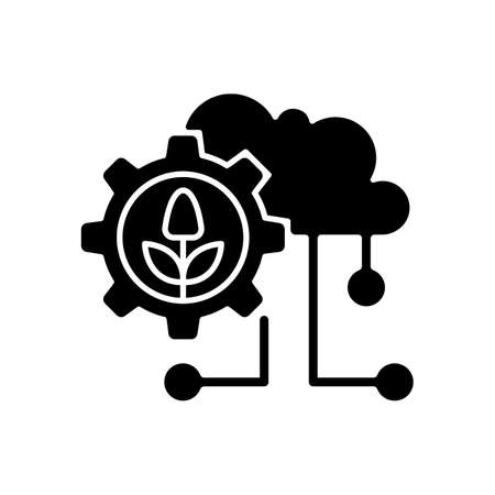 Cloud computing in farming black glyph icon. Agricultural analytics. Information technology. Collected data. Silhouette symbol on white space. Vector isolated illustration