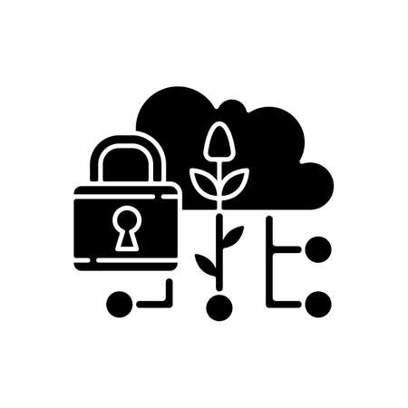 Data security in agriculture black glyph icon. Information protection. Smart farm. Cybersecurity in precision agriculture. Silhouette symbol on white space. Vector isolated illustration