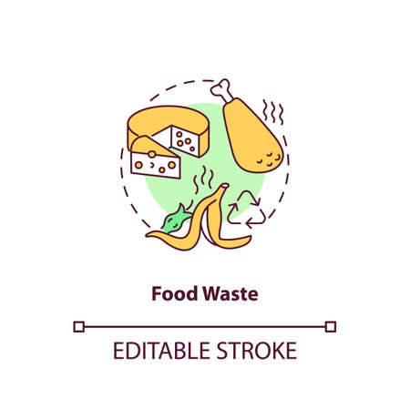 Food waste concept icon. Organic waste type idea thin line illustration. Food loss, leftovers. Producing for human consumption. Vector isolated outline RGB color drawing. Editable stroke