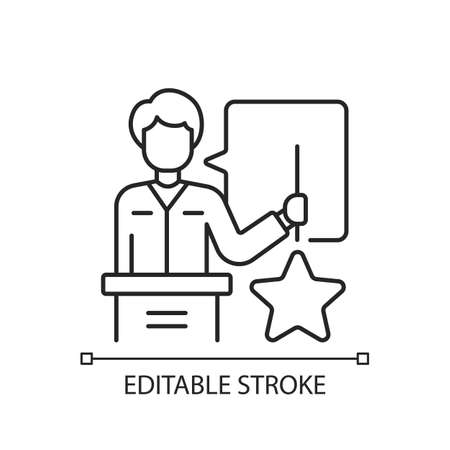 Knowledgeable presenter linear icon. Lecturer near the blackboard tells. Workshop. Holds star. Thin line customizable illustration. Contour symbol. Vector isolated outline drawing. Editable stroke