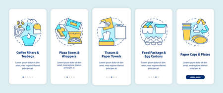 Food-spoiled paper waste onboarding mobile app page screen with concepts. Coffee filters, tissues, pizza boxes walkthrough 5 steps graphic instructions. UI vector template with RGB color illustrations