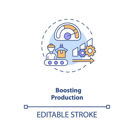 Boosting production concept icon. Industry 4.0 goal idea thin line illustration. Producing higher-quality goods at reduced costs. Vector isolated outline RGB color drawing. Editable stroke