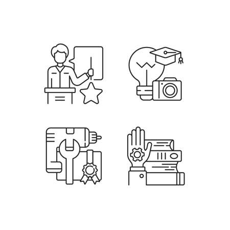 Knowledgeable presenter linear icons set. Photography workshop. Workshop icons. On-demand webinar. Customizable thin line contour symbols. Isolated vector outline illustrations. Editable stroke