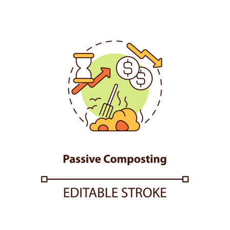 Passive composting concept icon. Composting method idea thin line illustration. Piling up organic material. Controlled decomposition. Vector isolated outline RGB color drawing. Editable stroke