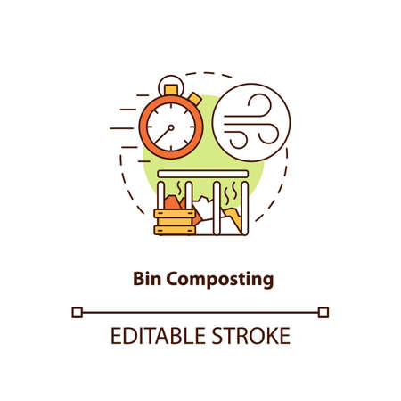 Bin composting concept icon. Composting method idea thin line illustration. Placing organic waste into container. Speeding up decomposition. Vector isolated outline RGB color drawing. Editable stroke