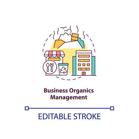 Business organics management concept icon. Pre-consumer, postconsumer material reuse idea thin line illustration. Leftovers in restaurants. Vector isolated outline RGB color drawing. Editable stroke Vektorové ilustrace