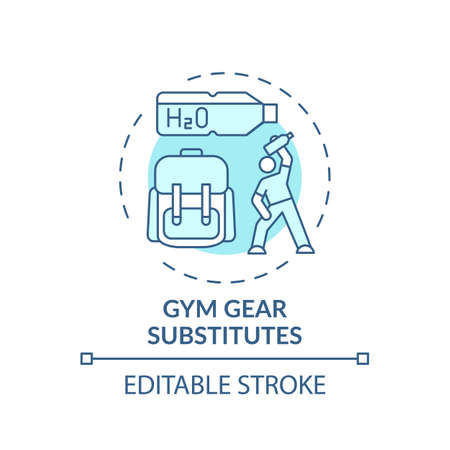 Gym gear substitutes concept icon. Home physical training idea thin line illustration. Adding loading for joints and muscles. Vector isolated outline RGB color drawing. Editable stroke