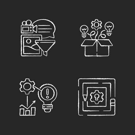 Creative thinking chalk white icon on black background. Breaking down problems. Analyzing information. Critical thinking. Identifying problems. Isolated vector chalkboard illustrations