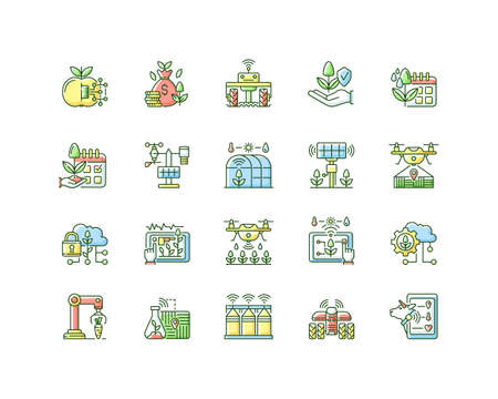 Smart farm system RGB color icons set. Innovation technology. Industry automatization. Digital agrotechnology. Isolated vector illustrations