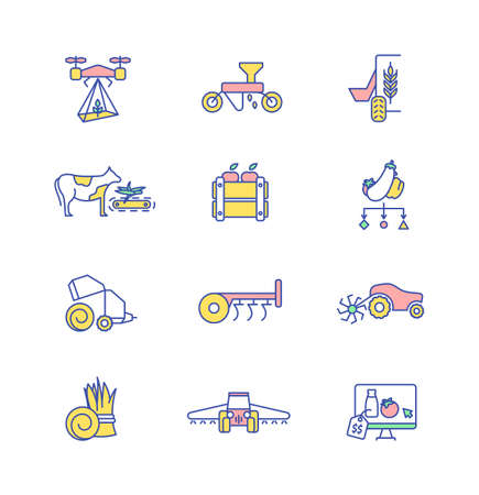 Agriculture technology RGB color icons set. Farming equipment. Machinery for planting seeds. Cultivating crops. Grow harvest. Feeding livestock. Irrigating farmland. Isolated vector illustrations